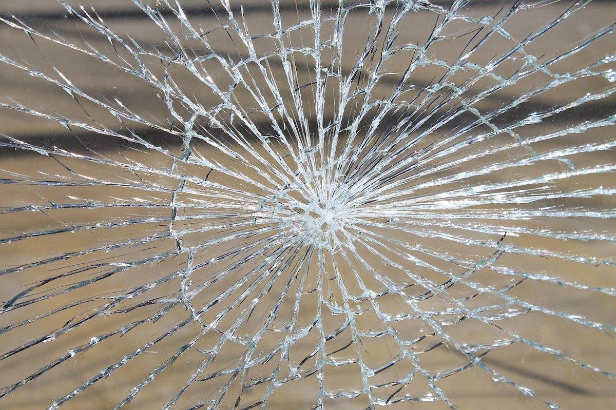 Espace vitrée vandalisé